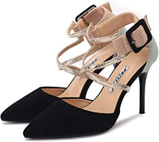 [OceanMap] ストラップ パンプス 痛くない 脱げない 靴 レディース 美脚 クロスバンドストラップ ヒール パンプス ピンヒール ポインテッドトゥ スエード ドレス キャバ 結婚式 パンプス セクシー パーティー 靴