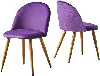 CLIPOP Juego de 2 sillas de comedor , funda de tela aterciopelada, sillas de cocina, sillas de acento acolchadas con patas de metal de color madera, para cocina, salón