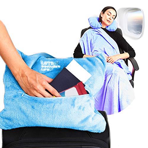 4 in 1 Reisedecke – leicht, warm und tragbar Die neuesten kleinen kompakten Flugzeugdecken & Kissen Set aus warmem Plüsch, 2 praktische Netztaschen mit modischen Trage- & Gepäckgurten