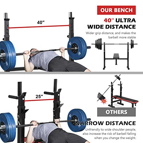ER KANG 40-inch Wide Adjustable Barbell Rack, Weight Bench with 6-Level Height-Adjustable Olympic Workout Bench for Home Gym, Strength Training