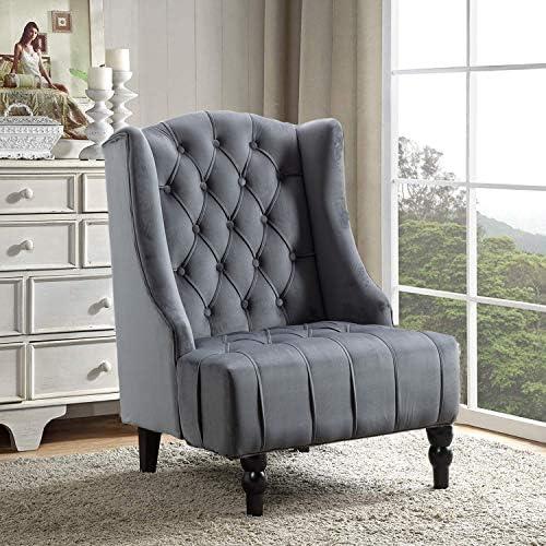 Best Altrobene Modern Velvet Accent Chair, Living Room/Bedroom/Home Office Chair, Tall Wingback, Tufted N