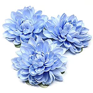 Casol Dahlia Artificial Flower Artificial Flower Head, Showing a Strong Rustic and Simple Style for Home Decoration(Blue)