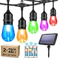 2-Pack RGB Solar String Lights Outdoor, 48FT Dimmable Color Patio Lights with Remotes, 30+5 S14 Shatterproof LED Bulbs, Commercial Grade Colorful String Lights for Patio Backyard Garden