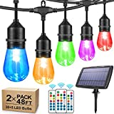 2-Pack Each 48FT RGB Solar String Lights Outdoor, Dimmable Color Changing Patio Lights with Remotes,30+5 Waterproof Shatterproof LED Bulbs, Colorful Solar Patio Hanging Lights for Backyard Garden
