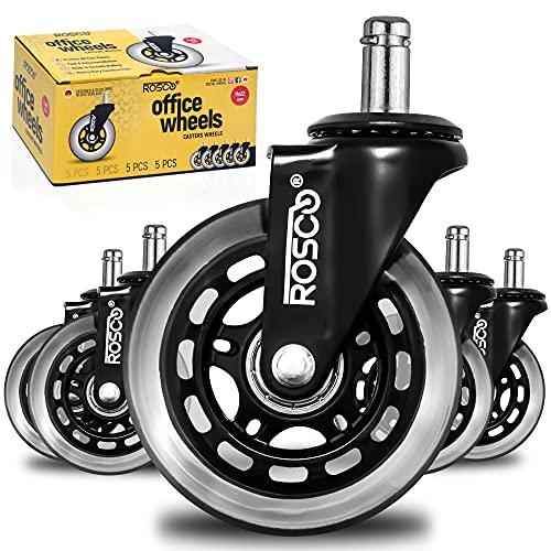Rosco 5er Hartbodenrollen für Bürostuhl - 11mm x 22 mm - Schwarz Edition - Sehr leise Bürostuhlrollen - Nie Wieder Bodenschutzmatte - Keine Kratzer im Boden mit diesen Premium Rollen