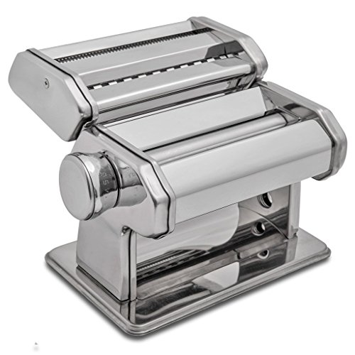 HuiJia Wellness 150 Pasta Maker Machine Stainless Steel Pasta Roller Machine Includes Pasta Cutter Hand Crank...