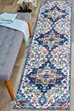 Rugshop Traditional Distressed Non Skid (Non Slip) Runner Rug 2' x 7' Blue