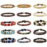 LOYALLOOK 15pcs Men Women Linen Hemp Cords Wood Beads Ethnic Tribal Bracelets Leather Wristbands 15PCS