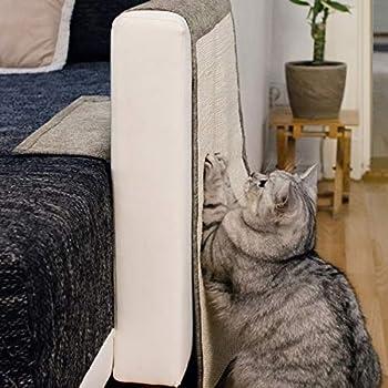 Navaris Tapis Griffoir pour Chats - Protection Canapé Fauteuil Meuble Sol Mur - Tapis en Sisal et Lin - 130 x 45cm - Adapté pour Chat Chaton Chien