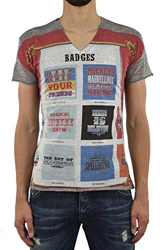Dolce & Gabbana Camiseta de hombre gris de lana con impresión gráfica y etiqueta con logotipo, talla IT44-IT46 gris luminoso (ral 7035) 44