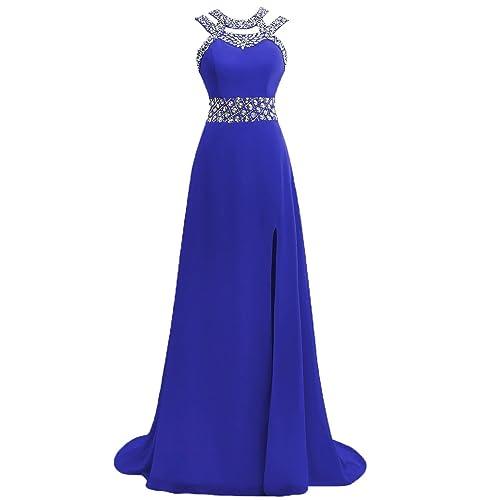 Royal Blue Bridesmaid Slit Dress