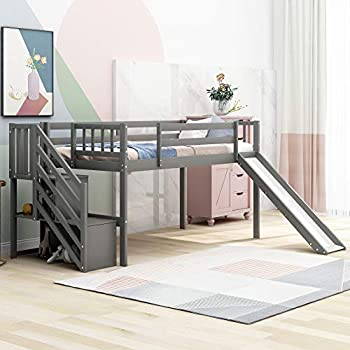 Kids Low Loft Bed with Slide and Storage Twin Loft Bed Frame with Stairs Slide Loft for Boys and Girls Twin Size Grey