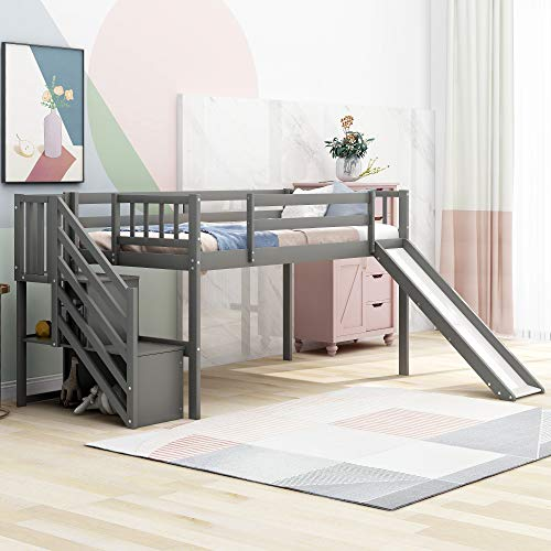 Kids Low Loft Bed with Slide and Storage Twin Loft Bed Frame with Stairs Slide Loft for Boys and Girls, Twin Size, Grey