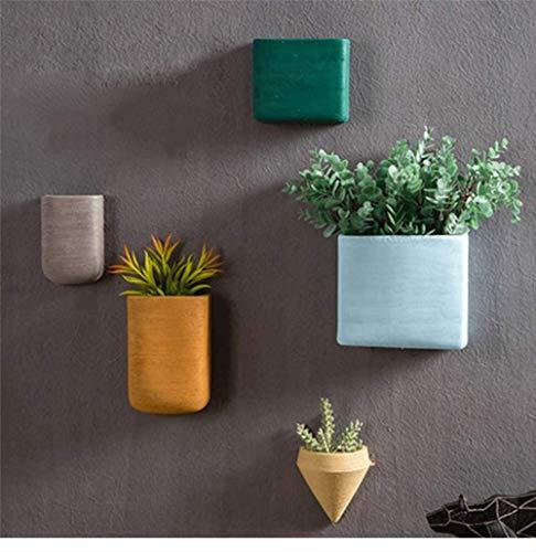 ZHANGMX Creativo Nostalgico Geometrico Vaso di Fiori in Ceramica Semplice da Parete in Ferro Battuto Appeso A Parete Decorazione da Giardino in Vaso da Parete 13x11.5cm E