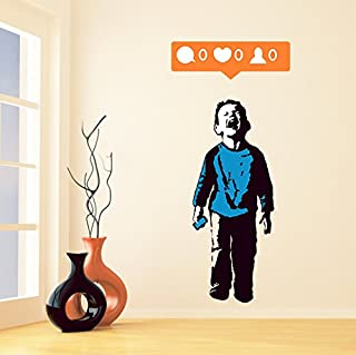 Banksy Vinyl Wall Decal Boy Crying out for Social Media Attention / Colorful Child Facebook Phone / Street Art Graffiti Sticker + Free Decal (18
