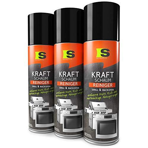 Spraytive 3 x 500ml Grill- & Backofenreiniger - Kraft-Schaum-Spray - Einfache Reinigung von Backblech, Grillrost, Topf & Co. - Grillreiniger ohne Aufheizen