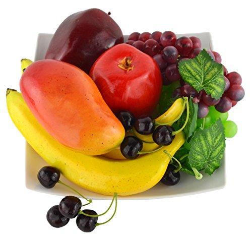 JEDFORE Mixture of Artificial Apple Banana Cherries Mango Grape Lifelike Simulation Realistic Fake Fruit for Home Decoration