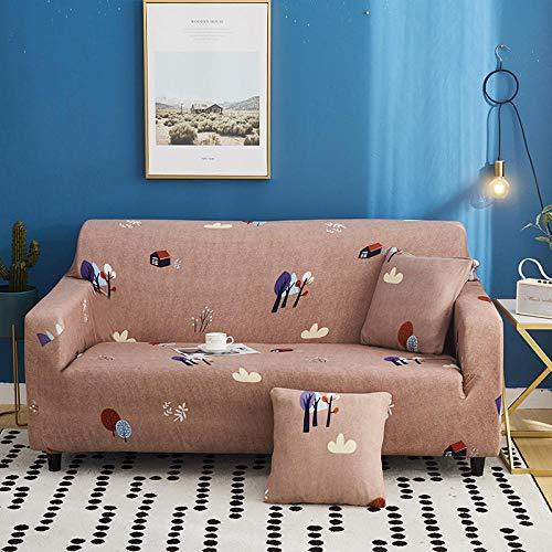 Stretch Sofahusse 4 sitzer(Warmes Zuhause Sofa überzug Elastisch Sofa Überwürfe Sofabezug aus Jacquard-Stretch Weiche Mikrofaser 2 Kissenbezüge inklusive.