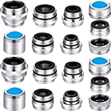 18 Pieces Faucet Adapter Kit Brass Male and Female Sink Aerator Adapter Set Kitchen Sink Faucet Adapter to Garden Hose, Water Filter, Standard Hose via Diverter
