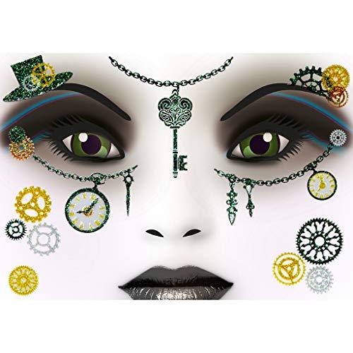 HERMA 15438 Face Art Sticker Steampunk Amelia Gesicht Aufkleber Glitzer Sticker für Fasching, Karneval, Halloween, dermatologisch getestet