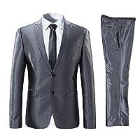 FOMANSH スーツ メンズ 上下セット 2つボダン 光沢あり 立体裁断 ビジネススーツ スリム 通勤