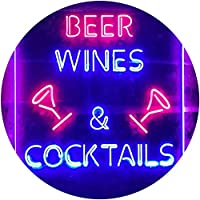 Beer Wine Cocktails Bar Club Dual Color LED看板 ネオンプレート サイン 標識 赤色 + 青色 300 x 400mm st6s34-i3557-rb