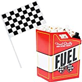Race Car Popcorn Treat Boxes with Checkered Black and White Racing Stick Flag 6' x 4' (12 of Each) For Race Car Birthday Party Supplies, Monster Truck, Racing Theme Decorations by 4E's Novelty