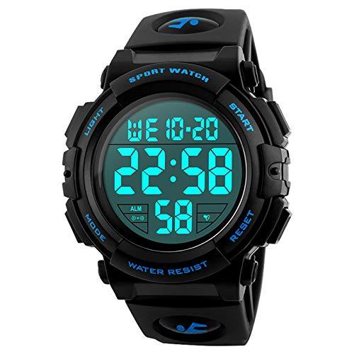 Reloj deportivo digital para hombre, para uso al aire libre o al hacer ejercicio, resistente al agua a 5ATM y de estilo militar, LED y alarma.