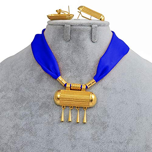 Tianyana Collar y pendientes de estilo etíope, collar colorido con cuerda de colores, estilo europeo 218006