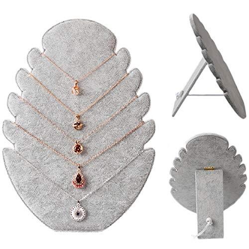 1 soporte de terciopelo para cadenas y joyas, con 5 muescas para collares, collares, joyas, expositor de joyas, expositor de joyas, collares, pulseras, etc.