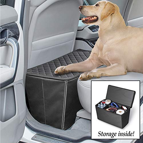 Collections Etc Quilted Pet Seat Extender with Adjustable Storage Bins for Travel, Zip Top Safe for Pets