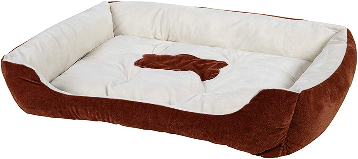 Luciphia Textiles Reversable Rectang Pet Bed con Dog Paw e Bone Printing BoneCoffee,L (31.4x25.5In)