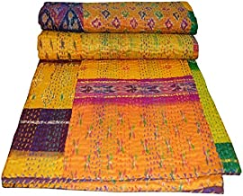 Yuvancrafts Indian Handmade Silk Patola Patchwork Kantha Quilt Traditional Silk Multi Color Kantha Throw Blanket Bedspread...