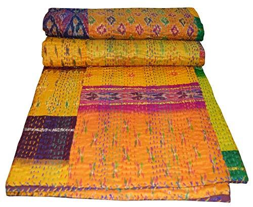 Yuvancrafts - Coperta in seta indiana fatta a mano, patchwork, Kantha Tradizionale in seta Kantha, multicolore