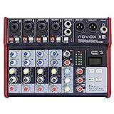 Novox M6 MKII - Mesa de mezclas con 6 canales de entrada analógicos, receptor Bluetooth, reproductor MP3/WAV, juego de mesa de mezclas de audio DJ Party – Equipo de música para escenarios