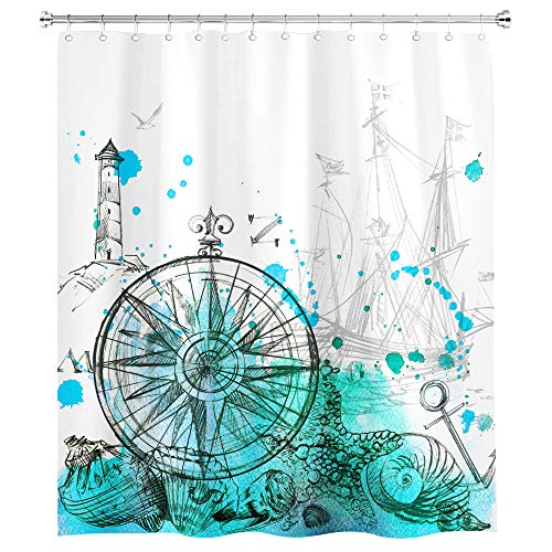 SVBright Nautical Sailboat Shower Curtain Teal Grey 60Wx72L Inch Compass Ocean Lighthouse Sketch Anchor Seabirds Modern 12 Pack Hooks Polyester Waterproof Fabric Bathroom Bathtub Panels