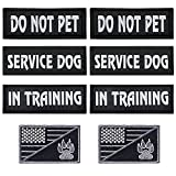 【WHAT YOU RECEIVE】 You will get 8 pieces service dog patches, namely 2 pieces SERVICE DOG patches, 2 pieces IN TRAINING patches, 2 pieces DO NOT PET patches and 2 pieces embroidered patches with printed dog paw and American flag. 【PREMIUM MATERIAL】 S...