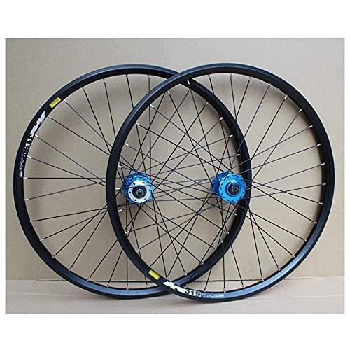 HJXX 24 Pulgadas Juego de Ruedas de Bicicleta MTB Ruedas de Bicicleta Rueda Trasera Rueda Delantera, Arandelas de llanta de Doble Capa Freno de llanta Rueda de Bicicleta 8-10 velocidades 32H
