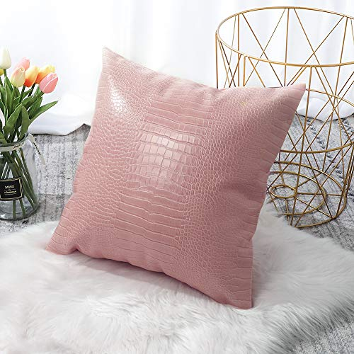 Artscope Cozy Cushion Covers Cases for Couch Sofa Home Decoration Solid Dyed Crocodile PU Faux Leather Both Sides Throw Pillow Covers 45x45cm,18x18 Inches (Pink)
