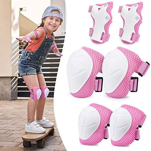 protection roller enfant,pour Enfants Genouillères Coudières Coussins Poignet Kid's Protective Gear ,Protection Coudières Protège-Poignets Taille Réglable pour Roller Vélo Trottinette Ski Patinage