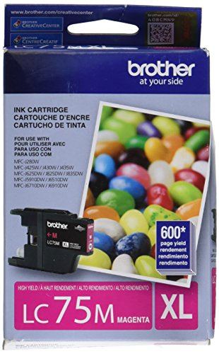 Brotheramp;reg; - LC75M (LC-75M) High-Yield Ink, 600 Page-Yield, Magenta - Sold As 1 Each - Reliable OEM Ink.