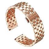 時計バンド ステンレス 腕時計ベルト メタル 時計ブレスレット ウォッチストラップ 金属交換ベルトクイックリリース 男女通用 18 mm、19 mm、20 mm、21 mm、22 mm、24 mm バタフライバックル付き ローズゴールド