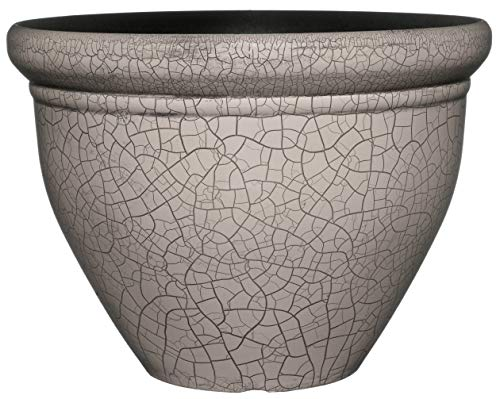Classic Home and Garden 710D-569R 10 Snap Pot Planter, Round, Greige Crackle