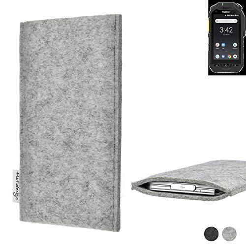 flat.design Handy Hülle Porto für Ruggear RG725 maßgefertigte Handytasche Filz Tasche Schutz Hülle fair grau