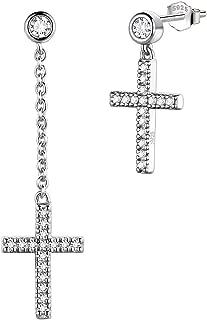 Mens Cross Earrings Drop 925 Sterling Silver Dangle Earring Boys Minimalist Crosss Jewelry Crystal Gift