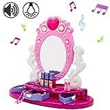 deAO Centro di Bellezza per Bambini Toeletta con Specchio e Gioielliere Set Include Accessori, Trucco Artificiale Gioco con Funzioni Luminose e Sonore