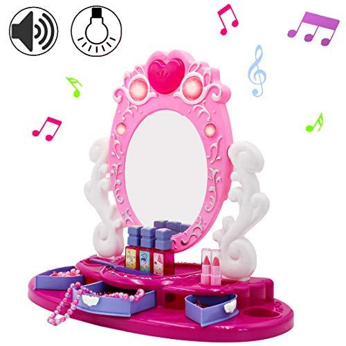 deAO Centro de Belleza Tocador con Espejo y Joyero Conjunto Incluye Accesorios...