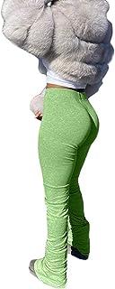 Aro Lora Women's Sport High Waist Bell Bottom Ruffle Drawstring Yoga Flare Long Pant Casual