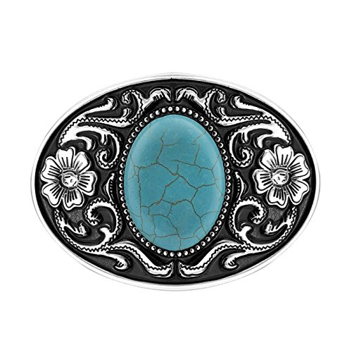 QUKE American Western Cowboy Turquoise Stone Belt...