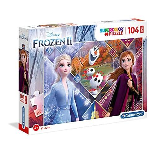 Clementoni Clementoni-23739-Supercolor Disney Frozen 2-104 maxi pezzi, puzzle bambini, Multicolore, 23739